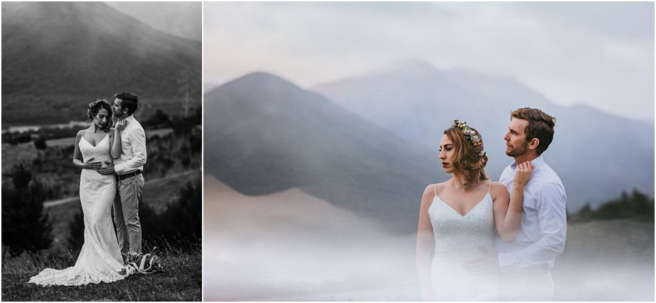 bride with flower crown, bride and groom in the Nelson countryside