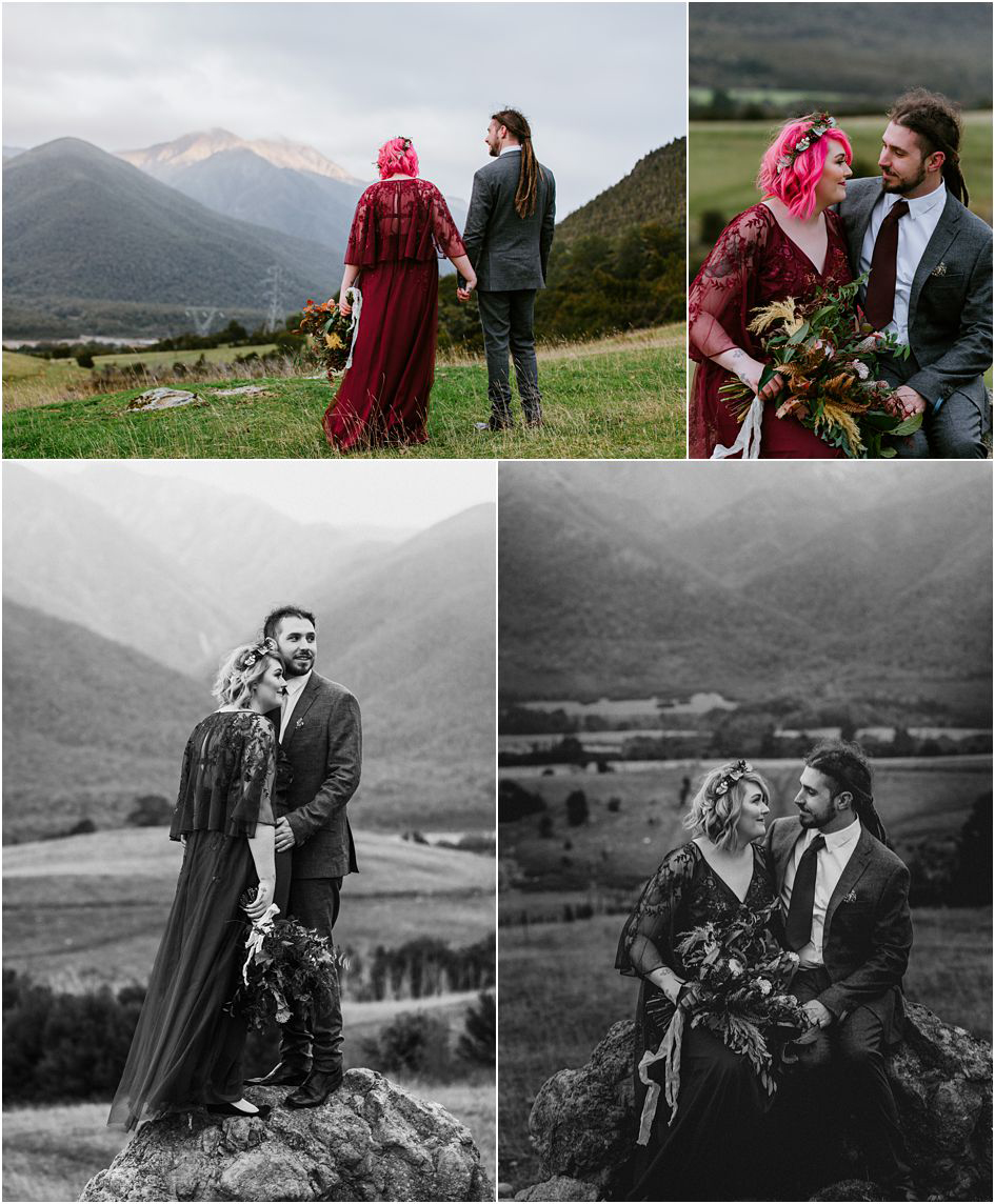 bride with pink hair, couple in the nelson countryside, alternative bride and groom
