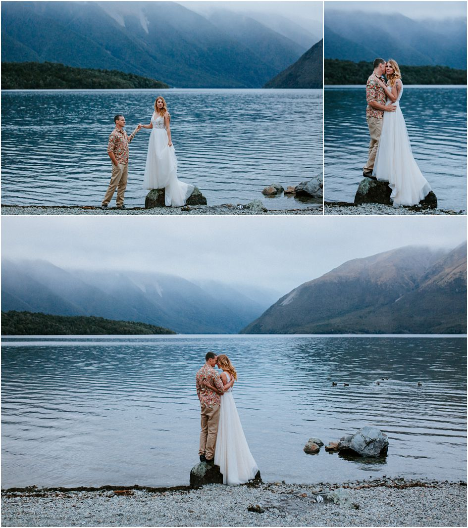 couple at nelson lakes, bride and groom on jetty,