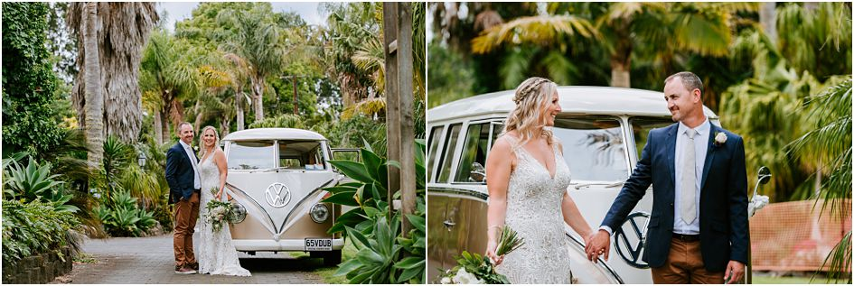 VW bride and groom